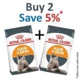Royal Canin Feline Care Nutrition Hair & Skin 4 KG- PACK OF 2